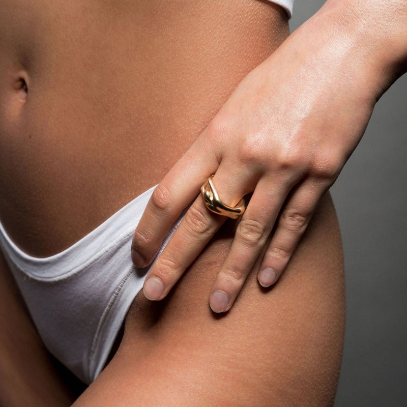 VIKA jewels gold plated vergoldet female body ring statement handmade Bali recycled recycling sterling silver silber fashion jewellery jewelry
