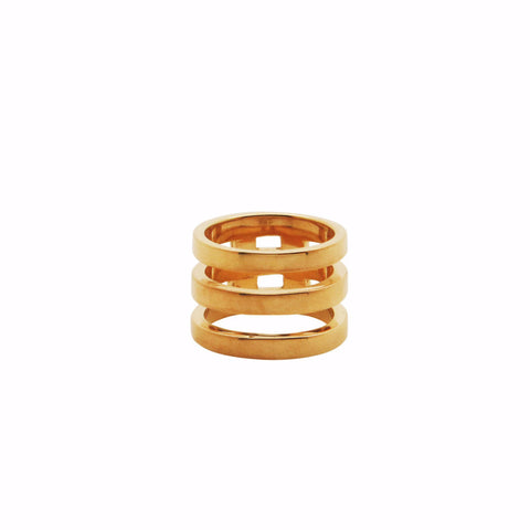 TRIPLE BRIDGE RING Midi Gold plated