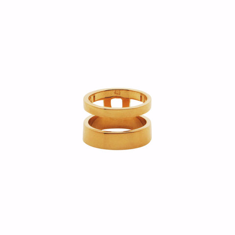 IRREGULAR BRIDGE RING midi Gold plated
