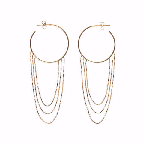 CIRCLE CHAIN EARRINGS gold plated