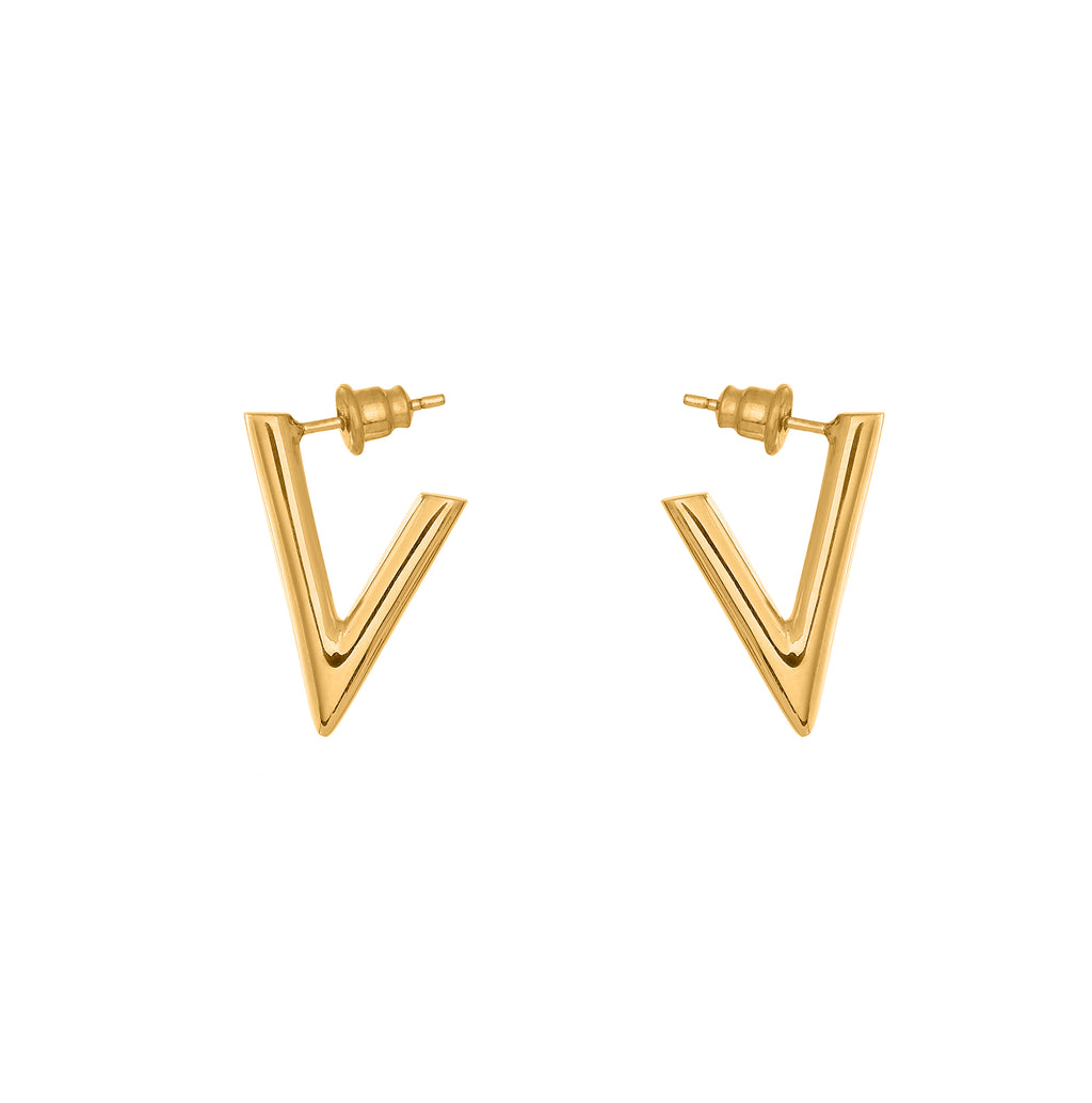 VIKA jewels self love collection V earrings Ohrringe studs Stecker jewel 18 Karat carat gold plated vergoldet recycled sterling silver silber handmade handgemacht bali sustainable ethical nachhaltig schmuck