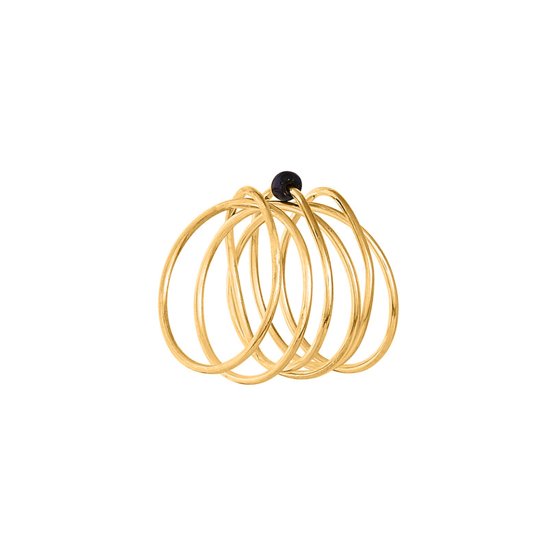 VIKA jewels 18 Karat carat gold plated vergoldet pearl Perle spiral wire ring statement handmade Bali recycled recycling sterling silver silber fashion jewellery jewelry Schmuck