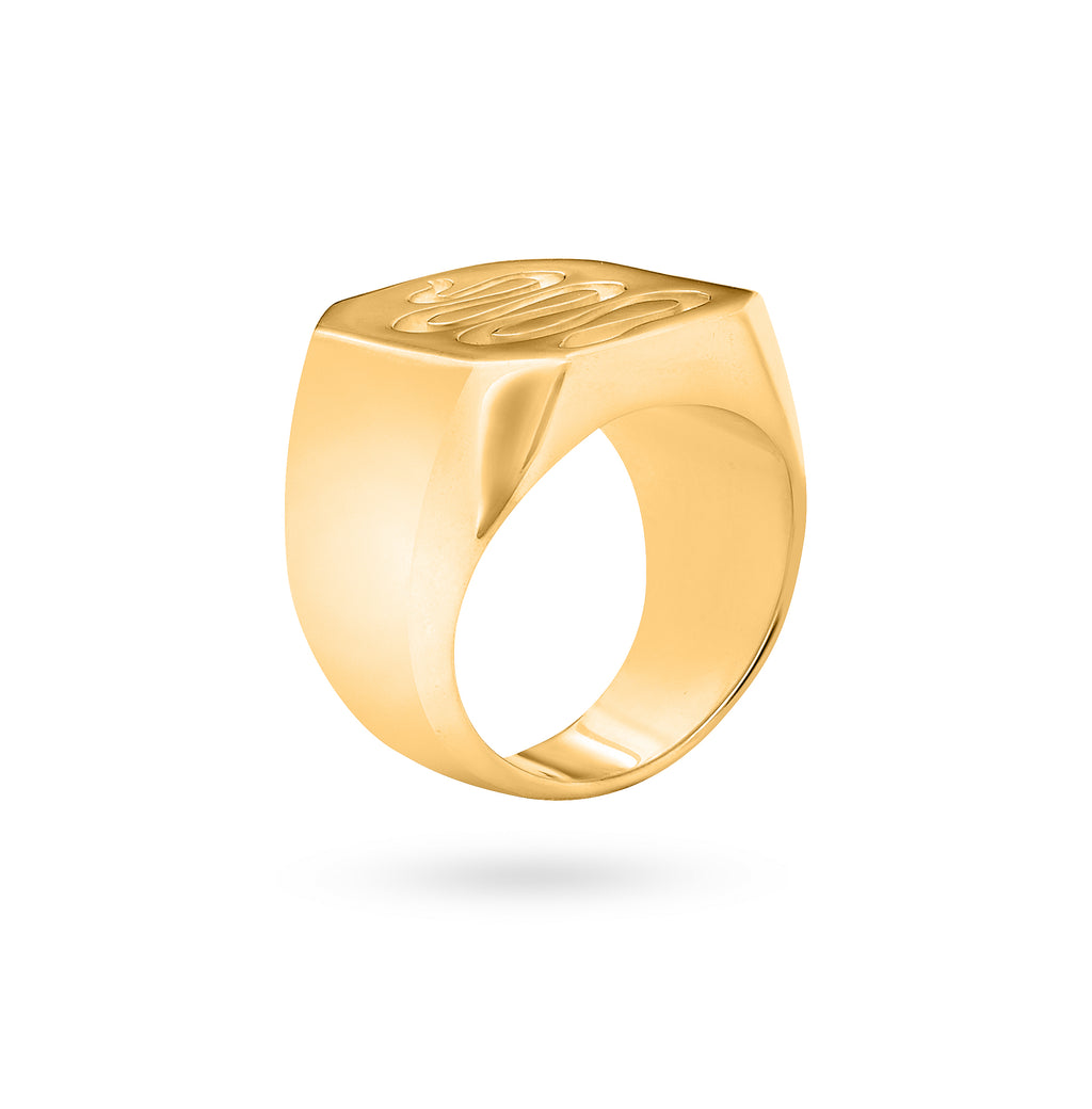 SNAKE SIGNET RING gold plated