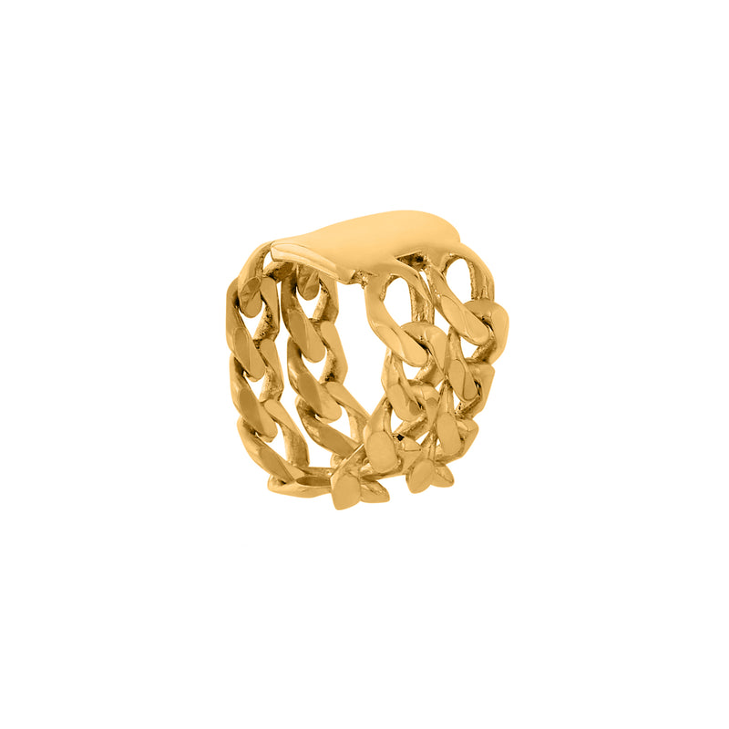 BIG SIGNET RING gold plated