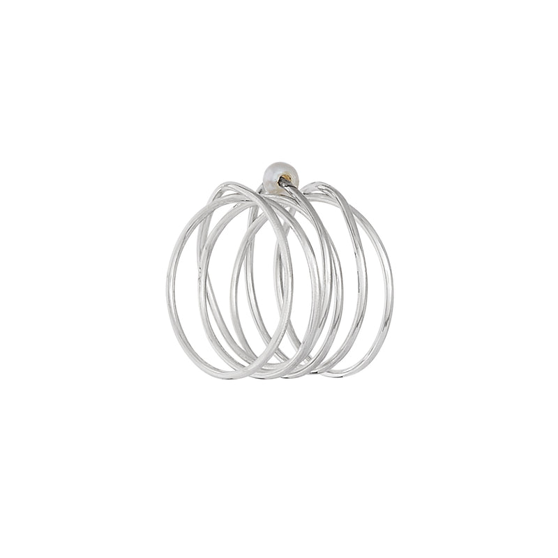 VIKA jewels pearl spiral wire ring statement handmade Bali recycled recycling sterling silver silber fashion jewellery jewelry
