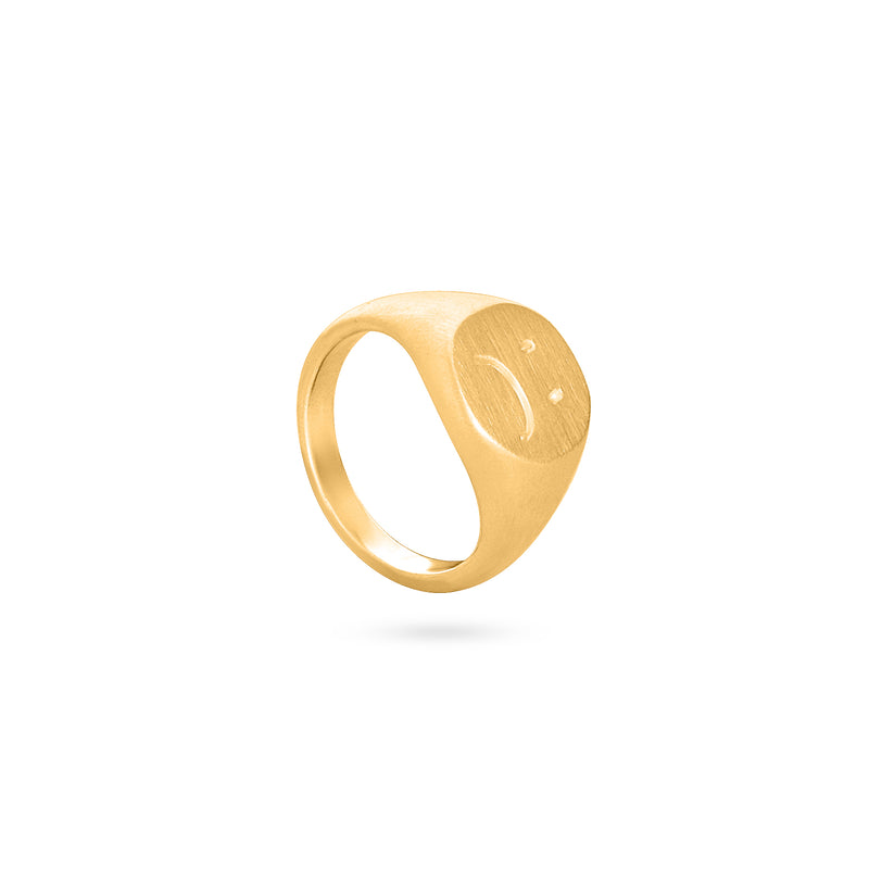 ANDHIM SAD SMILEY RING gold plated