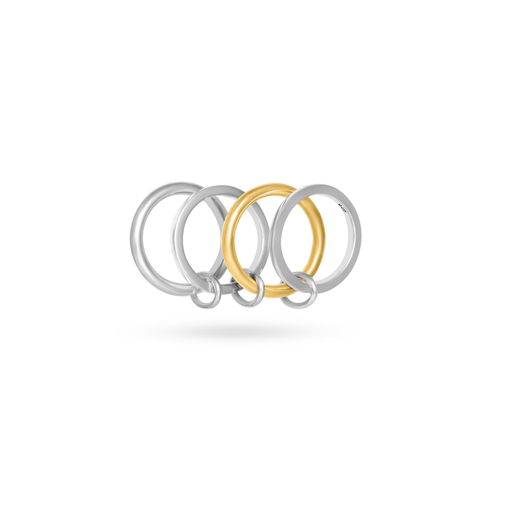 VIKA jewels quad interlock ring combination recycled recycling sterling silver silber schmuck jewelry jewellery handmade handgemacht bali berlin nachhaltig sustainable gold vergoldet mix plated 18 karat carat