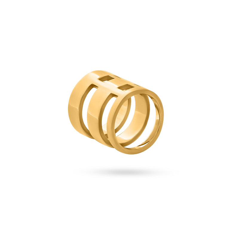 INTERLOCKED QUAD RING gold plated