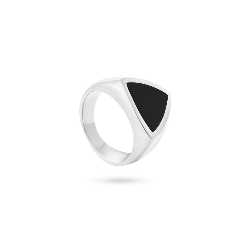VIKA jewels unisex signet ring with genuine shell recycled sterling silver black color shell handmade bali triangle