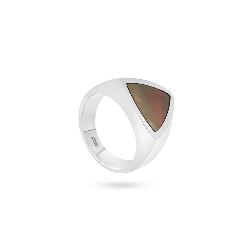 VIKA jewels unisex signet ring with genuine shell recycled sterling silver nude color shell handmade bali triangle