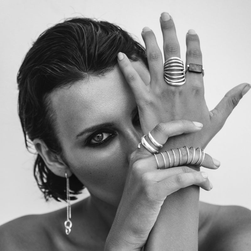 VIKA jewels jewelry jewellery ARMOUR RING 1 fantasia collection recycled sterling silver ring handmade Bali shoot editorial Photographer Pierre Cost Model Irina Kro Make up Ekaterina Stolbova black and white portrait