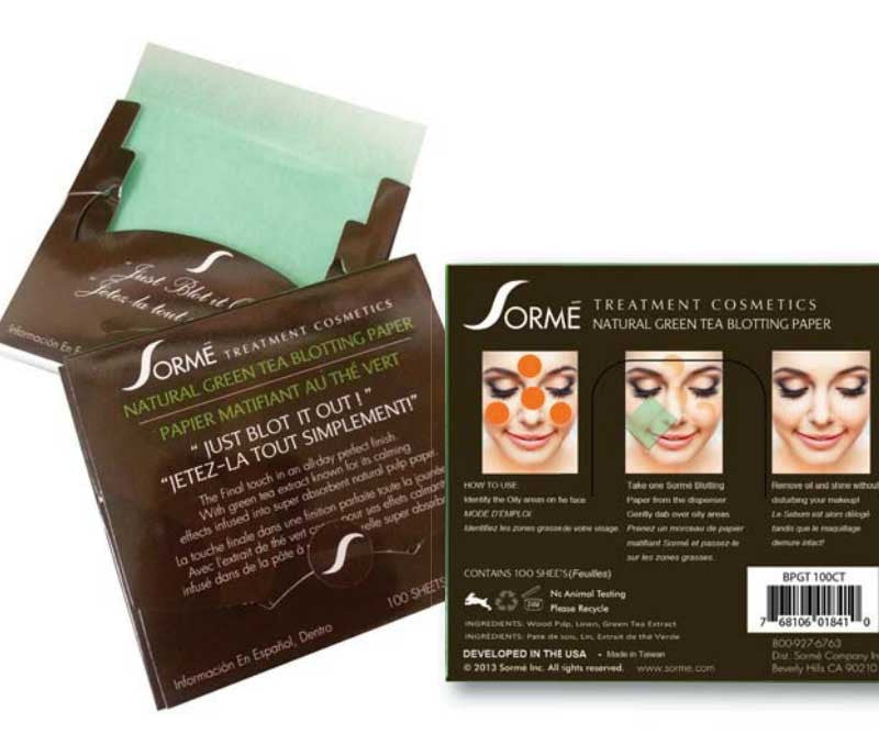 NATURAL BLOTTING PAPERS Green Tea Extract, Blotting Papers - Sormé, SormeSA  - 2