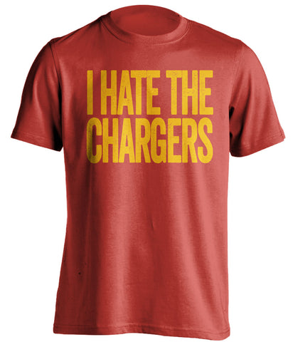 i hate the chargers kansas city chiefs red tshirt