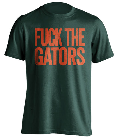 fuck the gators miami hurricanes green tshirt