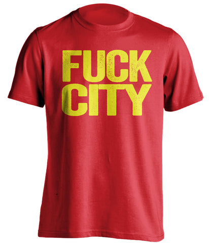 FUCK CITY Manchester United FC red Shirt