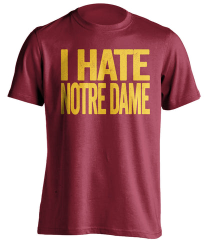 i hate notre dame usc trojans red tshirt