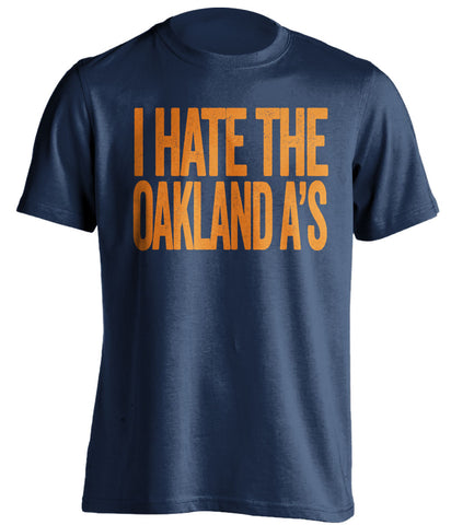 i hate the oakland a's los angeles angels blue tshirt