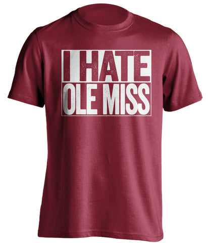 i hate ole miss msu bulldogs red shirt
