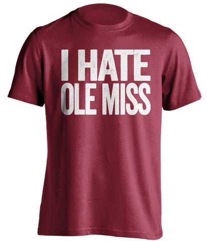 i hate ole miss msu bulldogs red tshirt