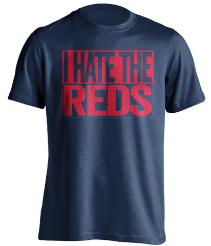 i hate the reds cleveland indians blue shirt