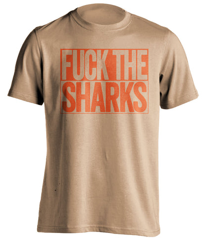 fuck the sharks anaheim ducks gold shirt