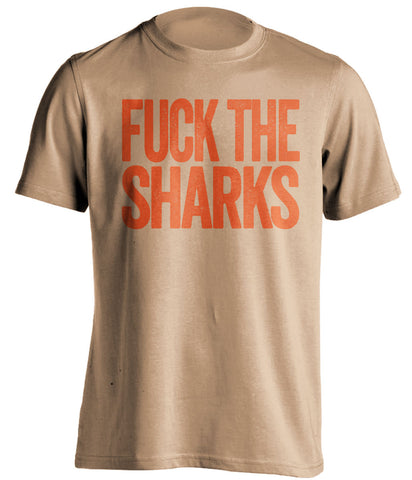 fuck the sharks anaheim ducks gold tshirt