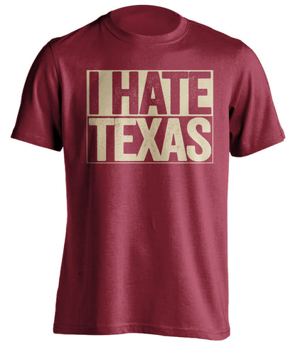 i hate texas oklahoma sooners red shirt