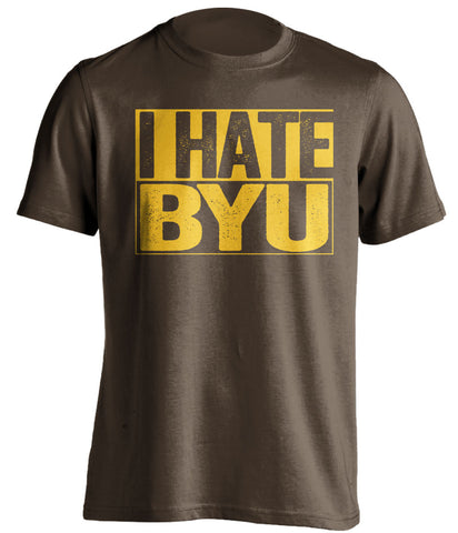 I Hate BYU Wyoming Cowboys brown TShirt