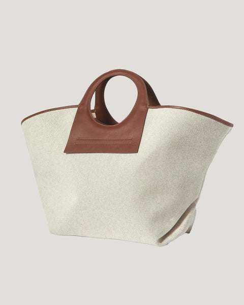 canvas PU leather-trimmed large tote bag *pre-order*