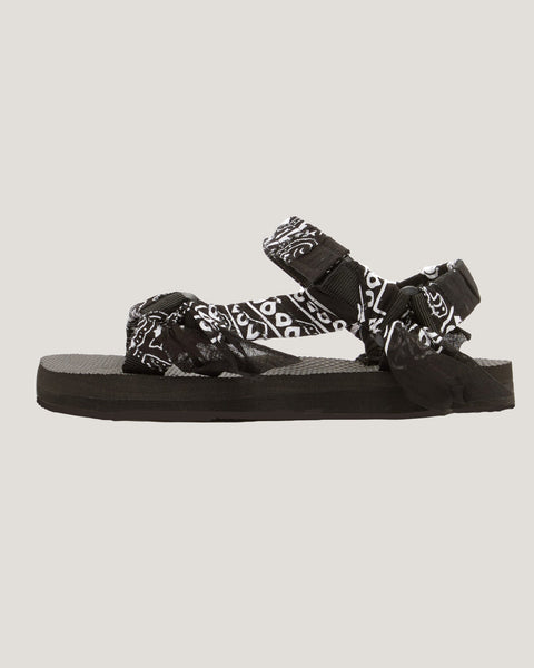 black banana printed fabric strappy sandals