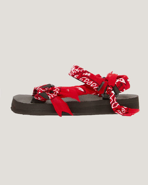 red banana printed fabric strappy sandals *pre-order*