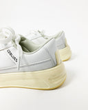 white PU leather distressed sneakers