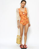 orange printed & ivory mesh sleeves one-piece swimsuit *pre-order*