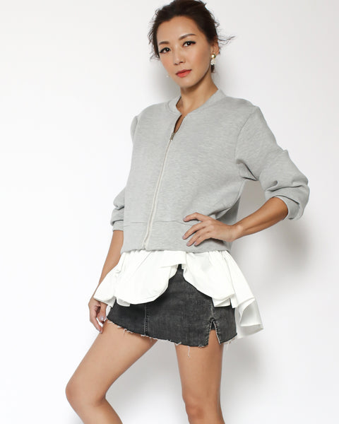 grey neoprene & ivory shirt hem jacket