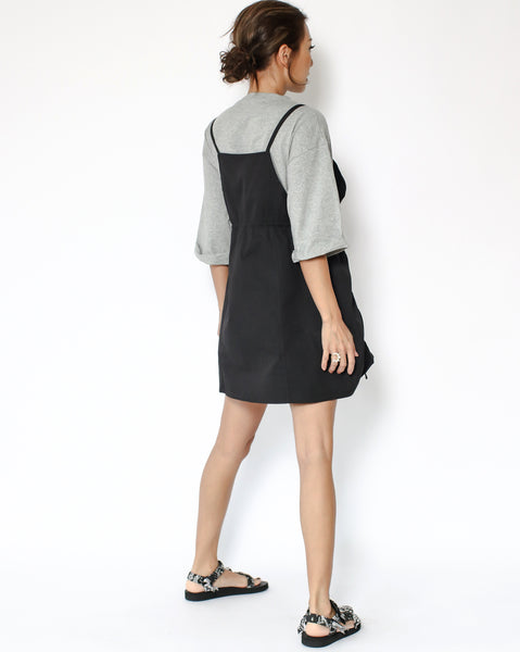 grey tee with black technic weave contrast dress
