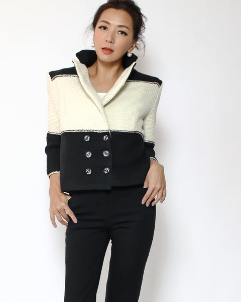 black & ivory tweed cropped jacket *pre-order*