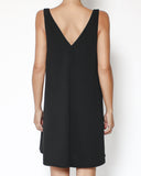 black crepe V neck dress