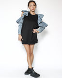 black longline sweatshirt with cutout shoulders denim ruffles sleeve