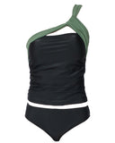 black with green one shoulder & pants swimsuit *pre-order*