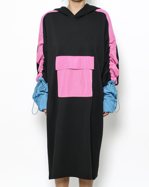 black sweat & blue & pink hoodie dress