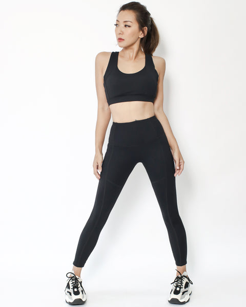 black seams sports ankle length leggings with pockets *pre-order*
