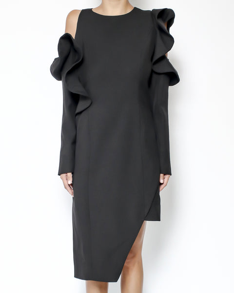 black ruffles cutout shoulders asymmetric hem dress *pre-order*