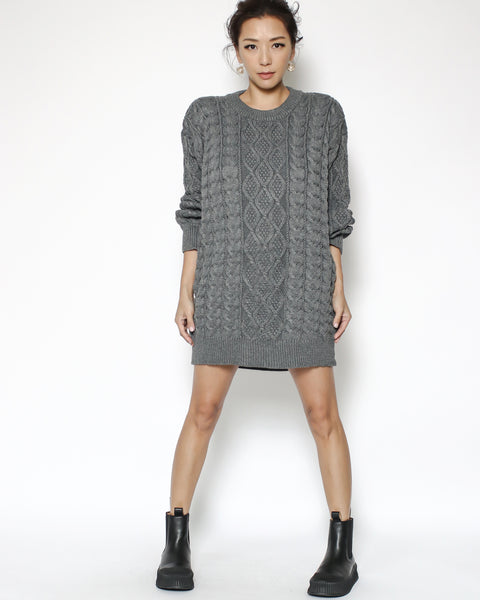 grey cable knitted top