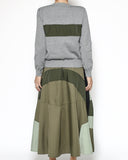 grey knitted green panel top & multi green slip dress set *pre-order*