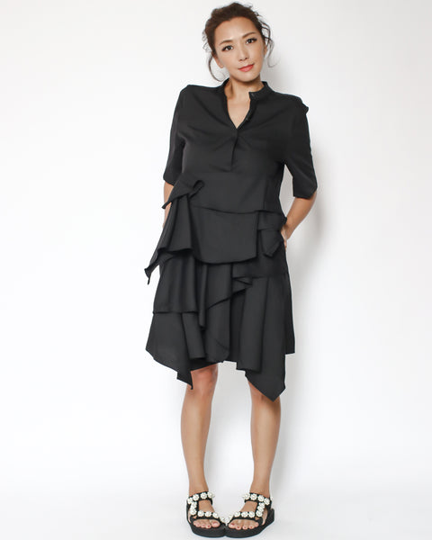 black layers shirt dress *pre-order*