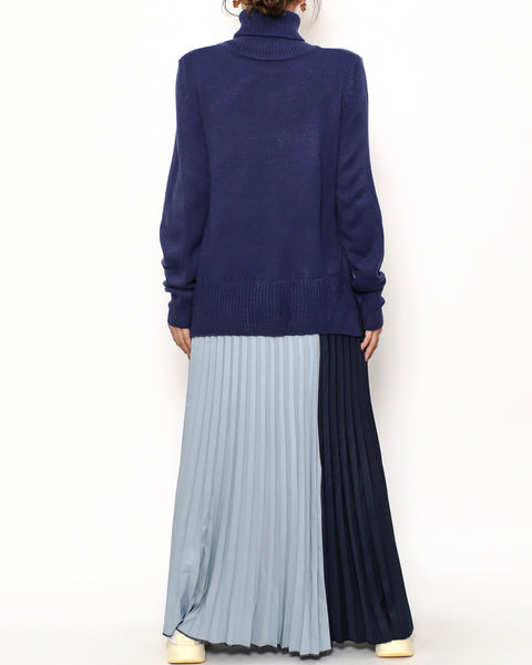 navy knitted & blue slinky pleats hem dress *pre-order*