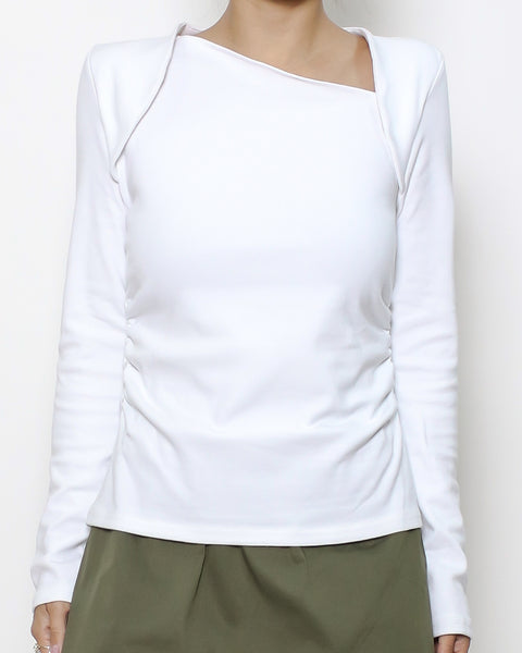 white cutout neckline ruched sides tee