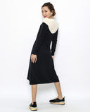 black & nude knitted dress