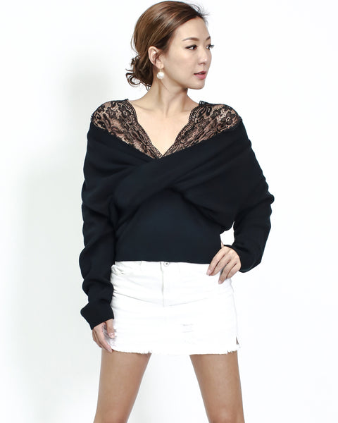 black knitted with lace strappy top
