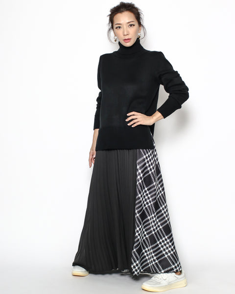 black knitted & pleats checkers hem dress *pre-order*